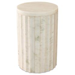 Damien Modern Classic Marble White Column End Table