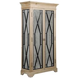 Emmie Rustic Lodge Antique Mirror Steel Diamond Elm Cabinet