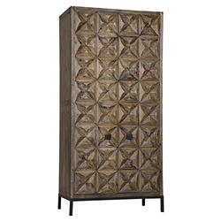 Noir Jones Global Bazaar Brown Reclaimed Fir Carved Wood Door Armoire