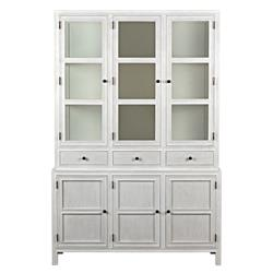 Noir Colonial French Country Antique White Wash Colonial Hutch