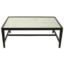 Nico Industrial Loft Rubbed Black Antique Mirror Coffee Table