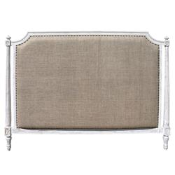 Ivanna French Country White Wash Burlap Headboard - Queen