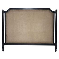 Ivanna French Country Burnished Black Burlap Headboard - King
