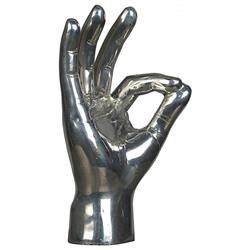 Noir OK Sign Industrial Loft Distressed Silver Hand Sculpture