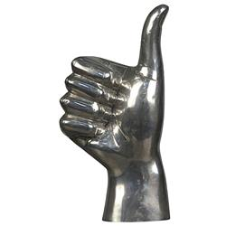 Noir Thumbs Up Industrial Loft Distressed Silver Hand Sculpture