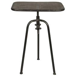Darnell Industrial Loft Adjustable Height Crank End Table
