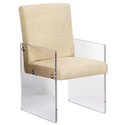 Aletta Modern Classic Acrylic Beige Linen Arm Chair