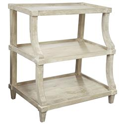 Malo French Country Grey Wash Curved Nightstand