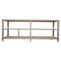 Corrin French Country Rustic 3 Tier Reclaimed Console Table