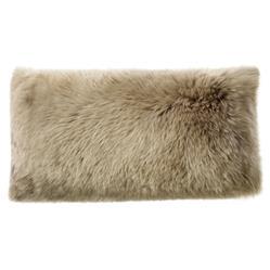 Mildred Modern Pebble Long Wool Fur Lumbar Pillow - 11x22