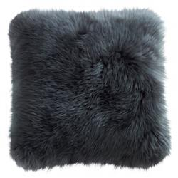 Mildred Modern Steel Grey Long Wool Fur Pillow - 14x14