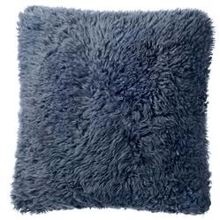 Grable Modern Charcoal Blue Curl Long Wool Pillow - 22x22
