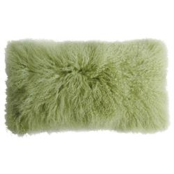 Shansi Modern Green Leaf Tibetan Long Wool Pillow - 11x22