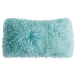 Shansi Modern Sky Blue Tibet Long Wool Lumbar Pillow - 11x22