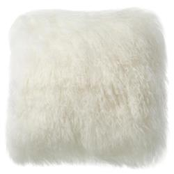 Shansi Modern Ivory Long Wool Tibetan Fur Pillow - 16x16