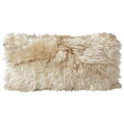 Suri Modern Cream Peruvian Alpaca Lumbar Pillow - 11x22