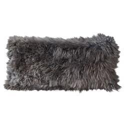 Suri Modern Silver Smoke Peruvian Alpaca Lumbar Pillow - 11x22