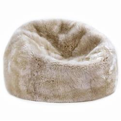 Shiloh Modern Toasted Almond Long Wool Sheepskin Fur Beanbag