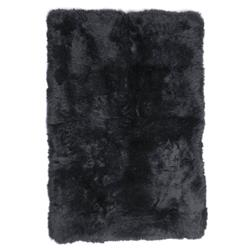 Turan Modern Black Long Wool Sheepskin Fur Rug - 4 x 6