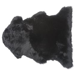 Veruca Modern Midnight Black Sheepskin Pelt Fur Rug- 2' x 3'
