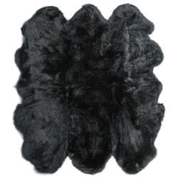 Veruca Modern Black Sheepskin 6 Pelt Fur Rug- 5' x 6'