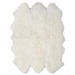 Veruca Modern Ivory Sheepskin 6 Pelt Fur Rug- 5' x 6'