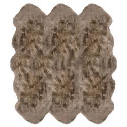 Veruca Modern Taupe Sheepskin 6 Pelt Fur Rug- 5' x 6'