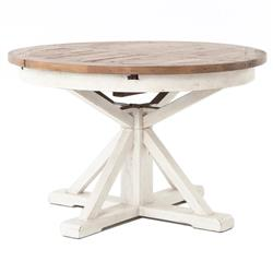 Barnes Modern Classic Round Wood Whitewash Extension Dining Table - 48 - 63 inch | Kathy Kuo Home