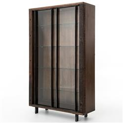 Baylor Modern Classic Tempered Glass Iron Dark Wood Bookcase