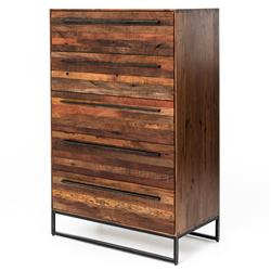 Brogan Modern Classic Reclaimed Wood Iron Five Drawer Dresser
