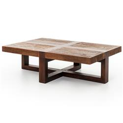 Grange Rustic Lodge Natural Wood Cross Top Coffee Table | Kathy Kuo Home