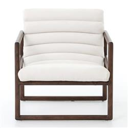 Camila Modern Classic White Upholstered Brown Wood Occasional Arm Chair