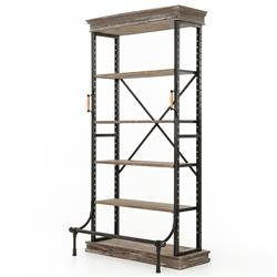Hughey Industrial Loft Washed Grey Iron Four Shelf Bookcase