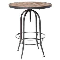 Clive Industrial Loft Adjustable Height Round Black Iron Reclaimed Wood Bar Table