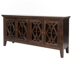 Milldale Rustic Lodge Brown Wood Glass Paneled Buffet