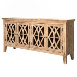 Milldale Rustic Lodge Limed Wood Glass Paneled Buffet