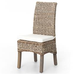 Sisson Modern Woven Banana Leaf Grey Wood Side Chairs