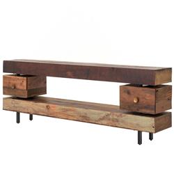 Taos Rustic Lodge Stacked Wood Three Tier Console Table