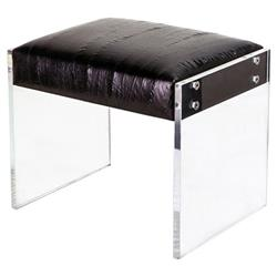Troy Modern Classic Acrylic Black Leather Stool