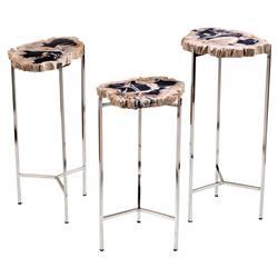 Interlude Armani Rustic Lodge Petrified Wood Round Table - Set of 3