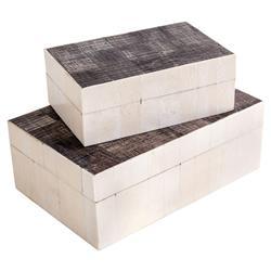 Interlude Interlude Asher Global Bazaar Ivory Bone Horn Grey Box - Set of 2