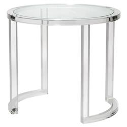 Interlude Ava Modern Acrylic Clear Glass Round Center Table