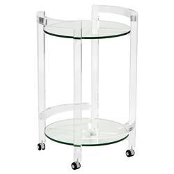 Interlude Ava Modern Clear Round Acrylic Bar Cart