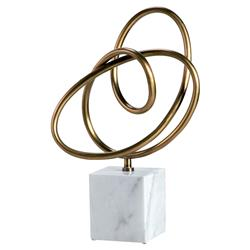 Interlude Interlude Boucle Modern Classic Brass Knot White Marble Sculpture