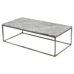 Interlude Clovis Industrial Loft Grey Marble Steel Coffee Table