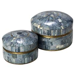 Giva Global Indigo Brass Round Bone Box - Set of 2