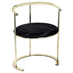 Interlude Hayes Modern Classic Black Hide Gold Disc Chair