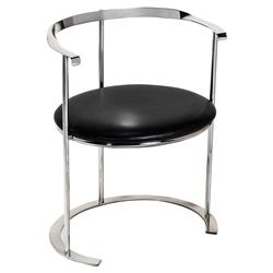 Interlude Hayes Modern Classic Black Leather Silver Disc Chair