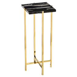 Interlude Laurent Hollywood Regency Charcoal Marble Square Gold Drink Table