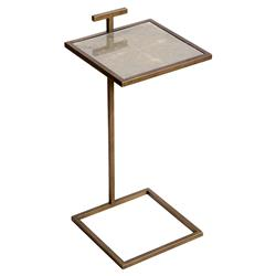 Interlude Soren Global Bazaar Faux Shagreen Square Side Table